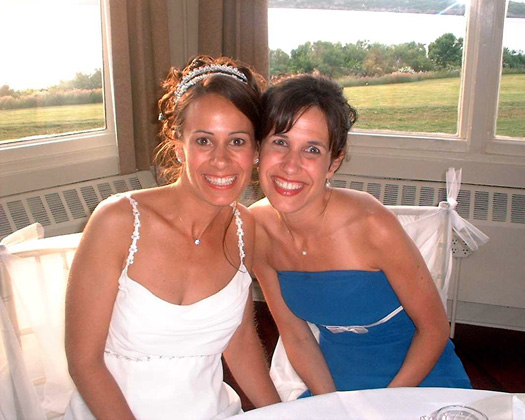 My sister and me at my wedding, June 23, 2005