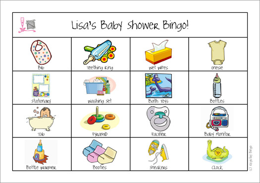 Example Baby Shower 4x4 Board Game